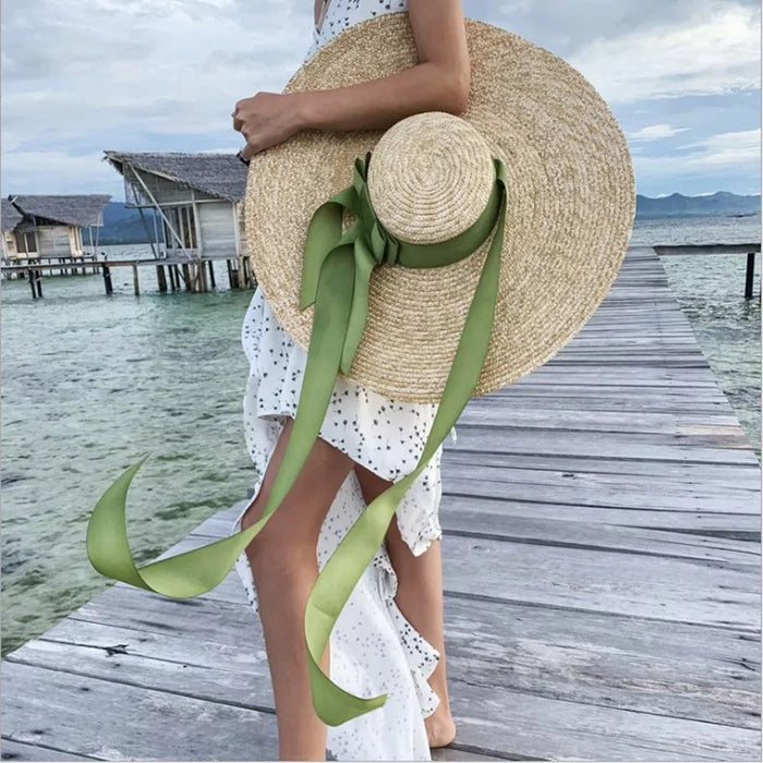 Bow Ribbon Wide Straw Beach Hat
