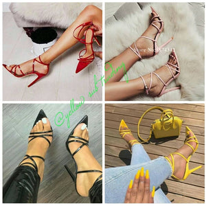 Ankle Strap High glass Heels - YELLOW SUB TRADING