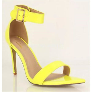 Open Toe Stiletto Pointed Heel Sandals - YELLOW SUB TRADING