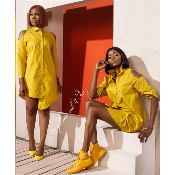 Cut off The Shoulder Shirt Dress - YELLOW SUB TRADING