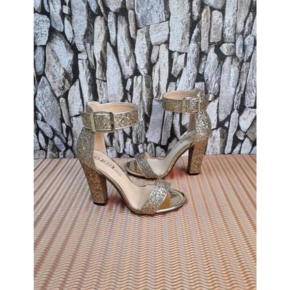 Thick Heel sequins chunky high heel - YELLOW SUB TRADING