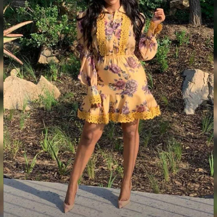 V-Neck Long sleeve print Mini Dress