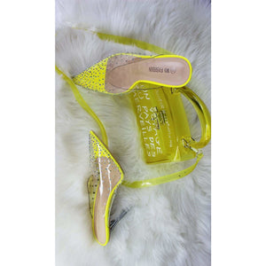 Pointed Toe Crystal Hell Shoes - YELLOW SUB TRADING