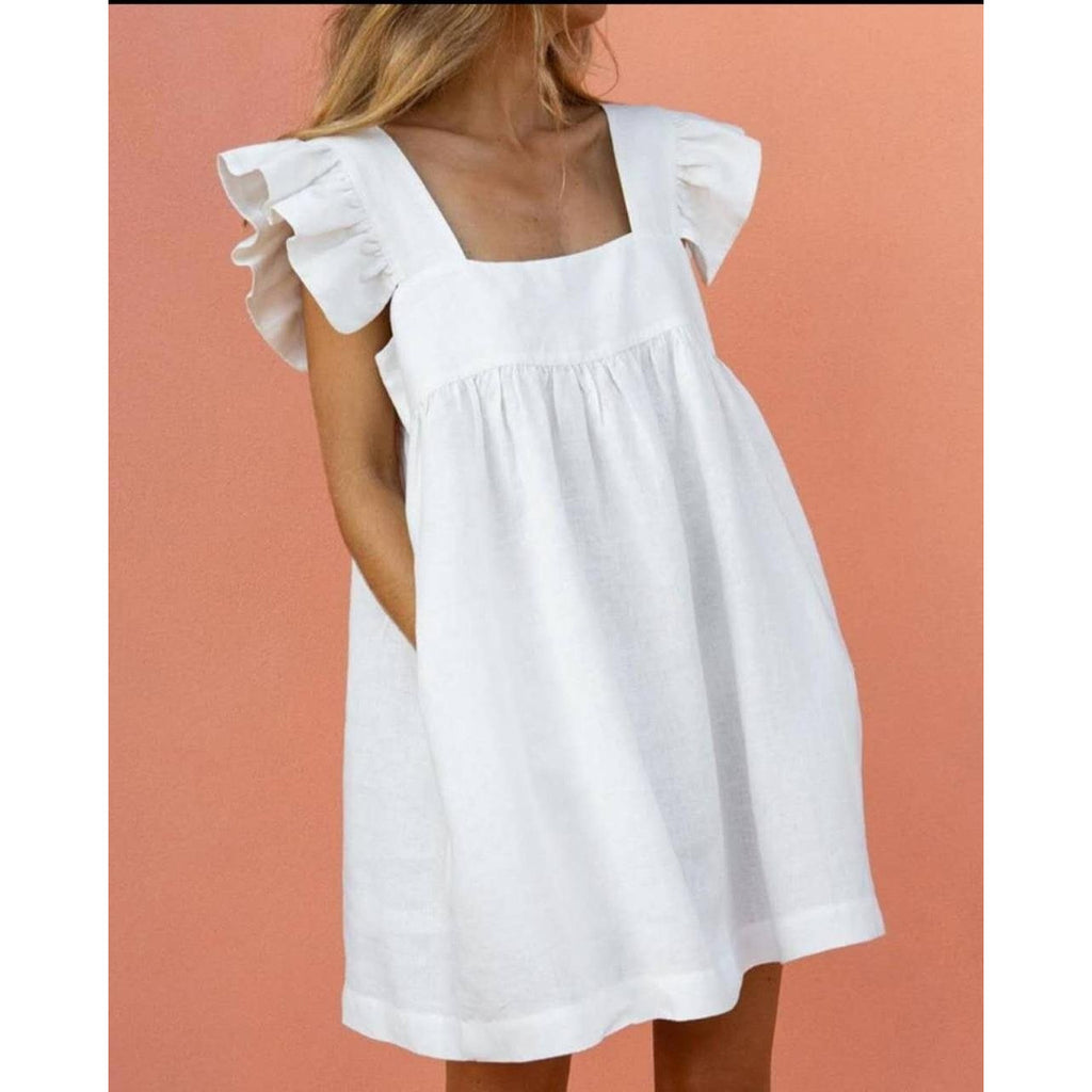 Butterfly Sleeve Square Neck Mini Dress