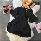 V-neck flare Playsuits