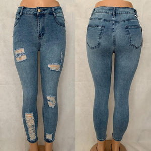 Distressed High Waisted skinny jean