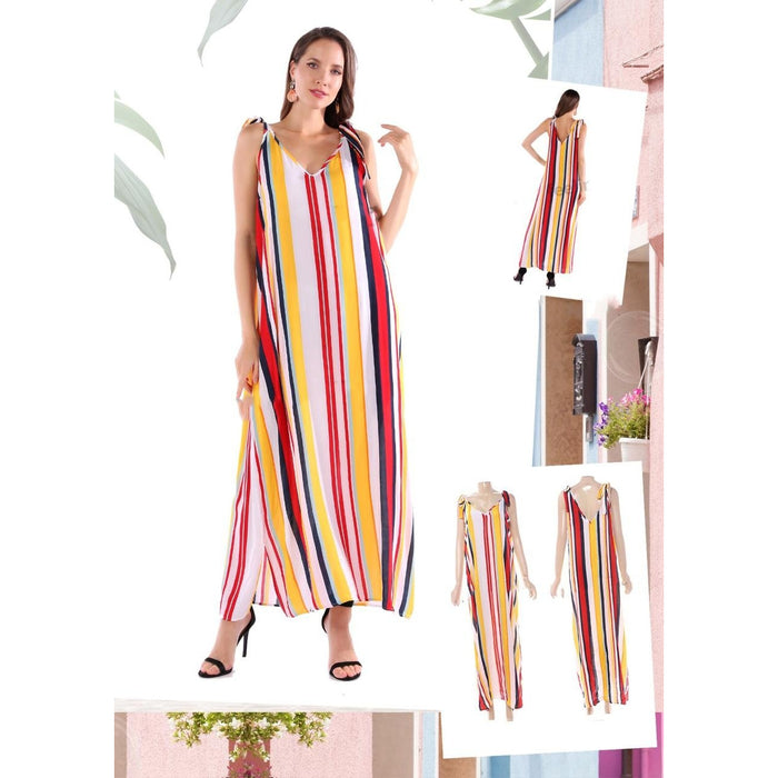 Tied Shoulder Striped Maxi Dress