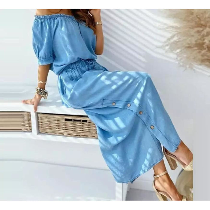 Off Shoulder Button Detailed Denim Dress