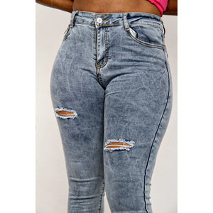 High Waisted Distressed Skinny Jeans - YELLOW SUB TRADING