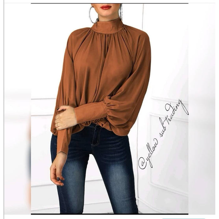 Turtleneck Lantern Sleeve Blouse