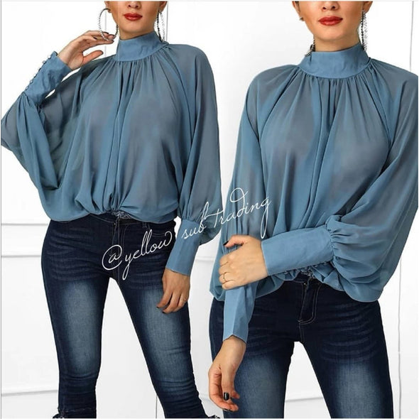 Turtleneck Lantern Sleeve Blouse - YELLOW SUB TRADING