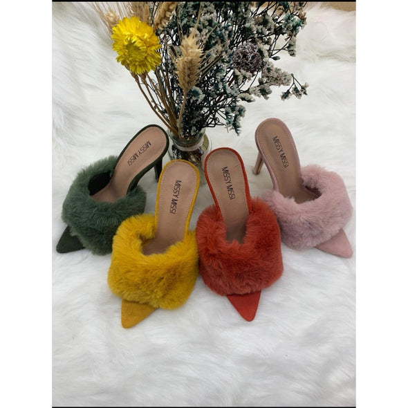 Faux Fur Open Toe Heel - YELLOW SUB TRADING