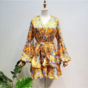 V-Neck Print Puff Sleeve Mini Dress  - YELLOW SUB TRADING