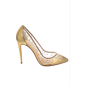Mesh Embellished Pointed Toe Heel  - YELLOW SUB TRADING