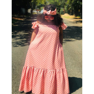 Off Shoulder polka Dot Bubble Dress  - YELLOW SUB TRADING