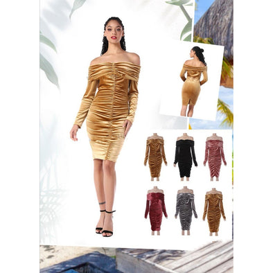Off Shoulder Velvet Dress  - YELLOW SUB TRADING