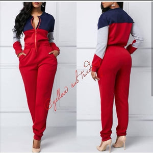 Front Zip Sweater Jumpsuit
