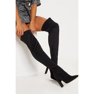 Starchy Suade Knee Boots - YELLOW SUB TRADING