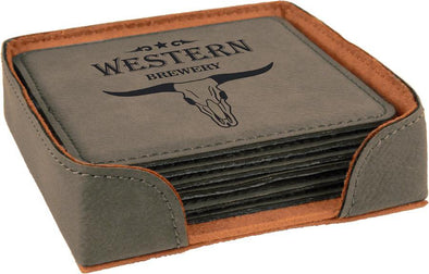 "4"" x 4"" Grey Square Laserable Leatherette 6-Coaster Set - DogHouse Graphix,LLC"