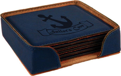 "4"" x 4"" Blue Square Laserable Leatherette 6-Coaster Set - DogHouse Graphix,LLC"