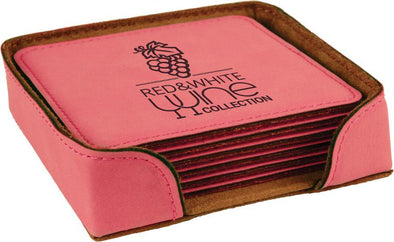 "4"" x 4"" Pink Square Laserable Leatherette 6-Coaster Set - DogHouse Graphix,LLC"