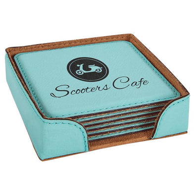 "4"" x 4"" Teal Square Laserable Leatherette 6-Coaster Set - DogHouse Graphix,LLC"
