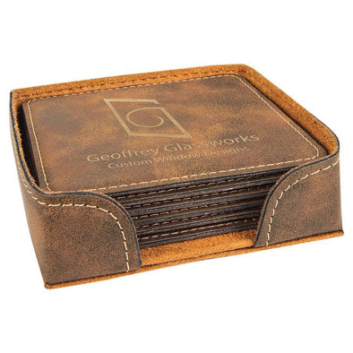 "4"" x 4"" Rustic/Gold Square Laserable Leatherette 6-Coaster Set - DogHouse Graphix,LLC"
