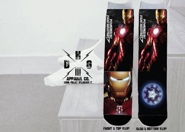 IronMan Powered by Stark Industries Sublimated Socks - DogHouse Graphix,LLC