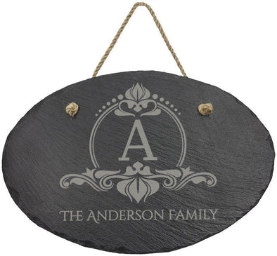 "Custom 11 3/4"" x 7 3/4"" Oval Slate Decor with Hanger String - DogHouse Graphix,LLC"