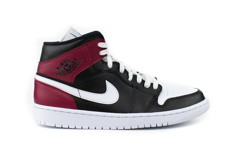 Jordan 1 Mid High Black Noble Red
