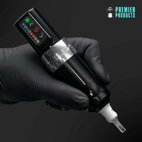 The revolutionary wireless tattoo machine, the Spektra Flux™ available from official distributors, Premier Products