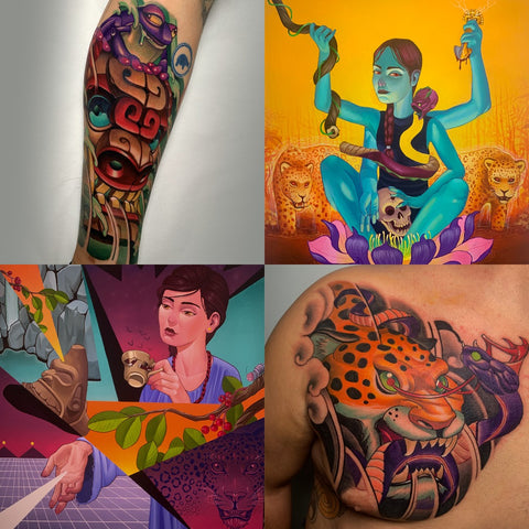 Tattoos and artwork with Pre-Columbian motifs by painter and tattoo artist Miguel Del Cuadro
