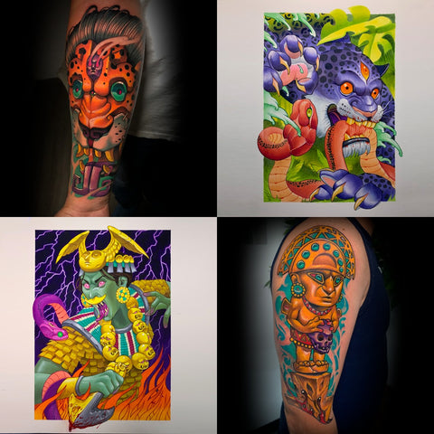 Compilation of tattoos and art featuring Pre-Columbian motifs by painter and tattoo artist, Miguel Del Cuadro