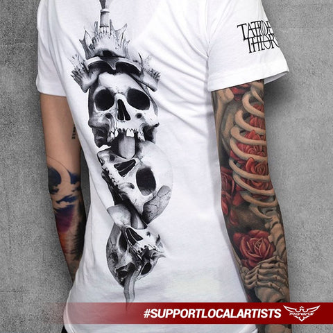 Black and white skull t-shirt by the talented FK Irons Pro Team tattoo artist, Javi Antunez