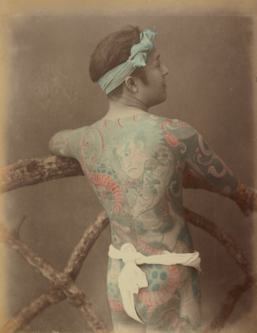 Photo of tattooed Japanese man, ca. 1870s - 1890s, source: Getty Open Project