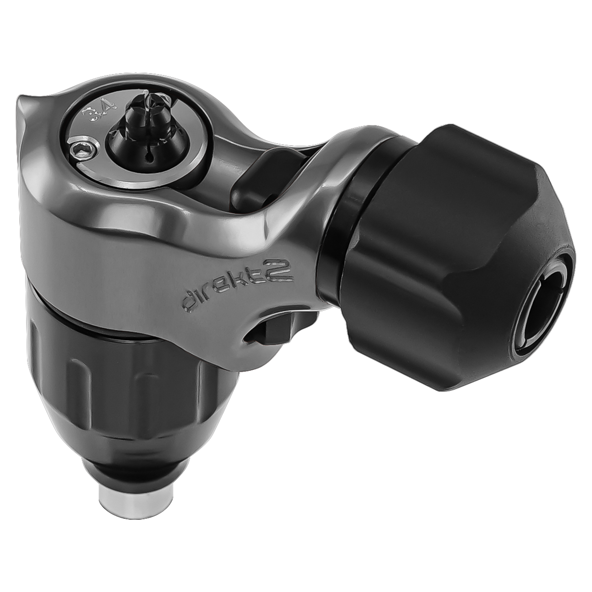 Spektra Direkt2 tattoo machine in gunmetal with a view of the plug and stroke cap
