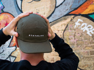 <center>Stay Alive 5 Panel Hat (Olive)
