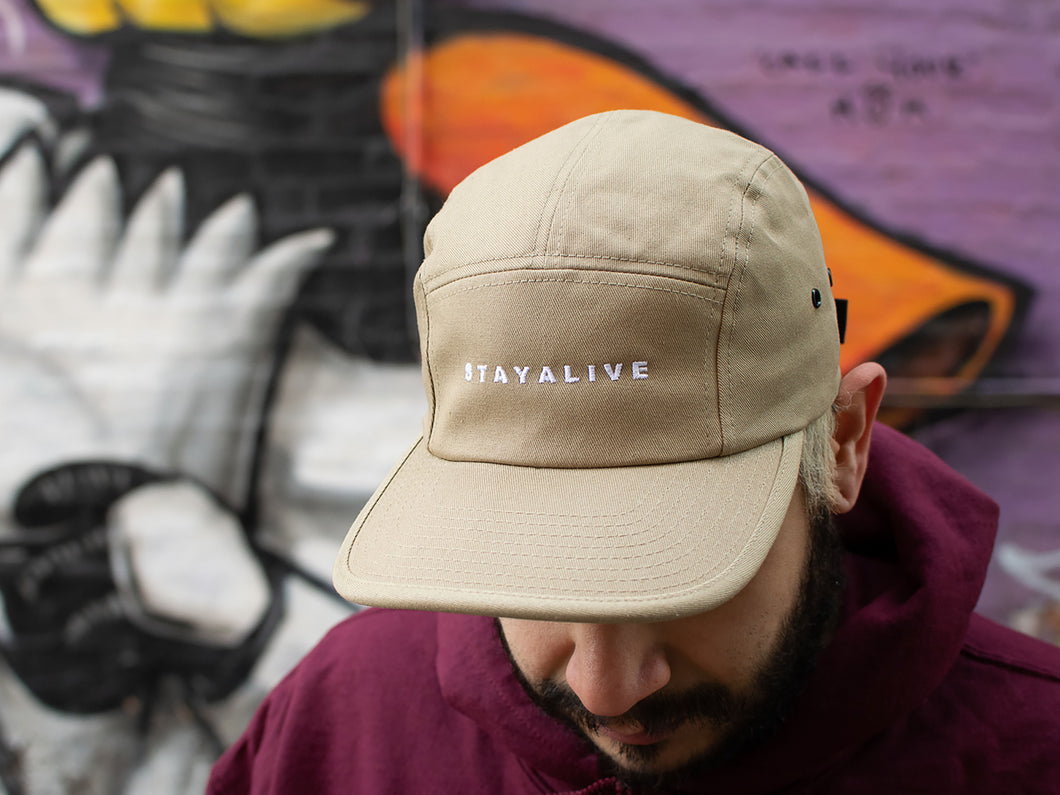 <center>Stay Alive 5 Panel Hat (Khaki)