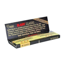 "Load image into Gallery viewer, RAW Black Natural Rolling Papers 1 1/4"" (24 Count Box)-Rolling Papers-Vape In The Box"