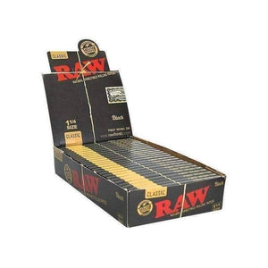 "RAW Black Natural Rolling Papers 1 1/4"" (24 Count Box)-Rolling Papers-Vape In The Box"