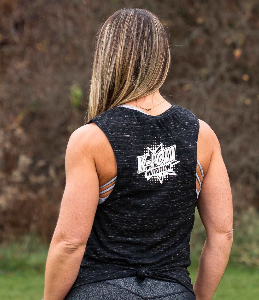 Black Marble Bolt Muscle Tank