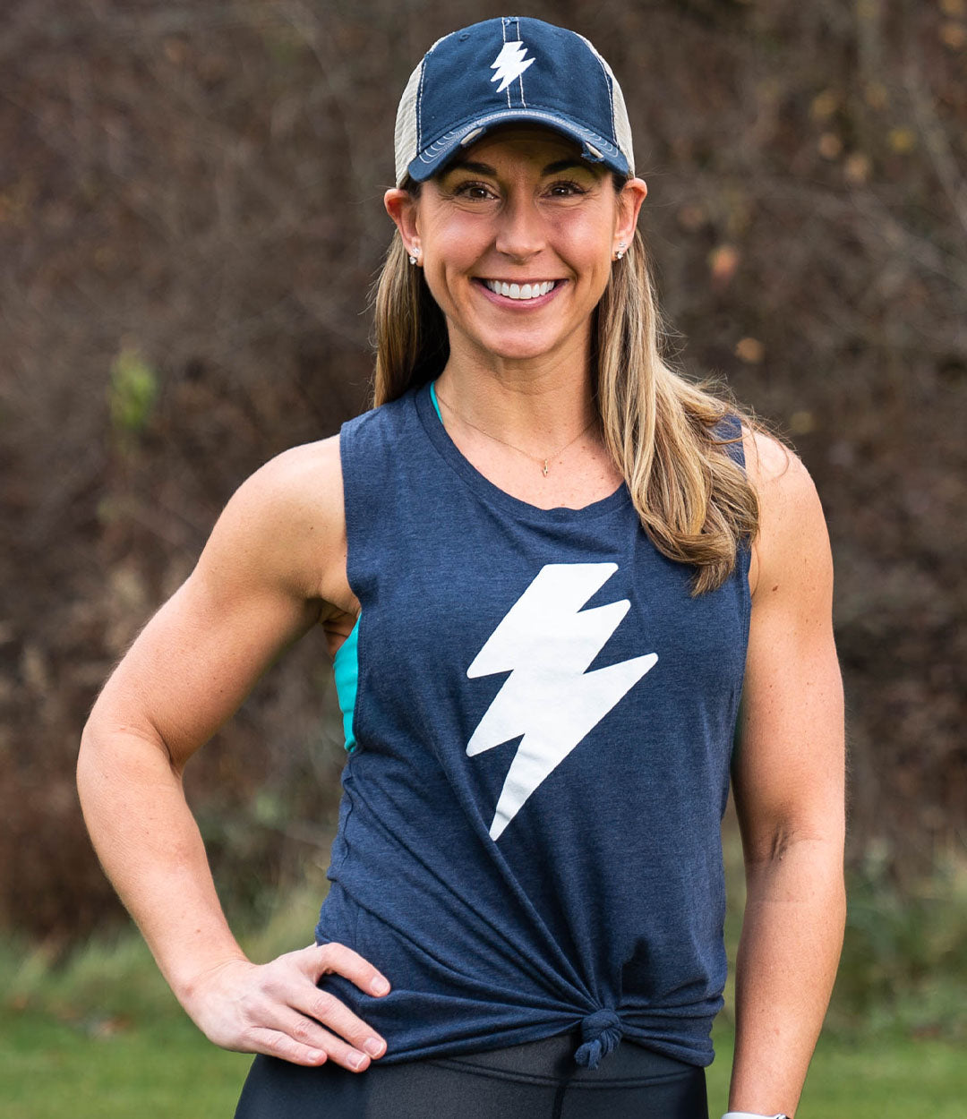 Heather Navy Bolt Muscle Tank