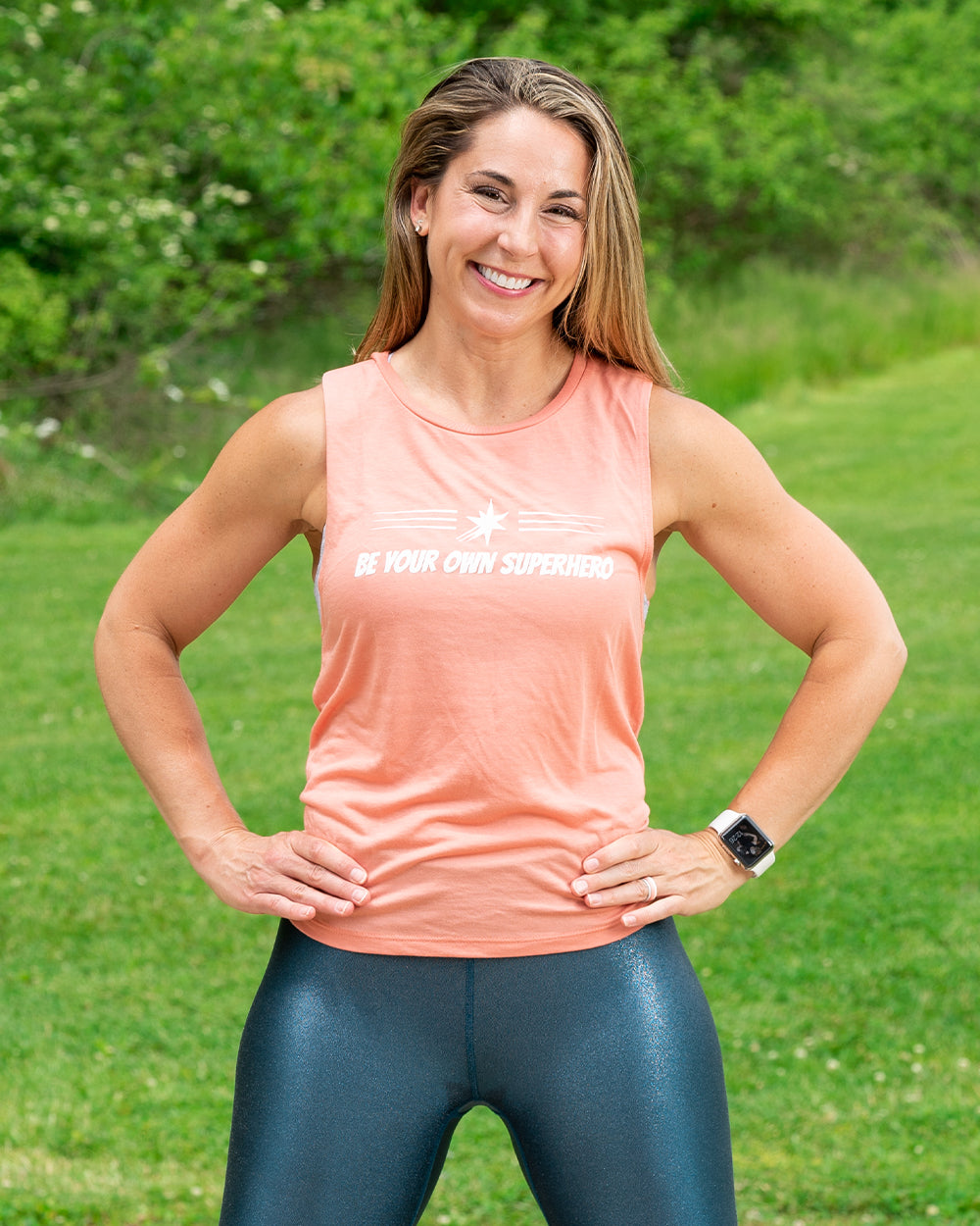 Peach Superhero Muscle Tank