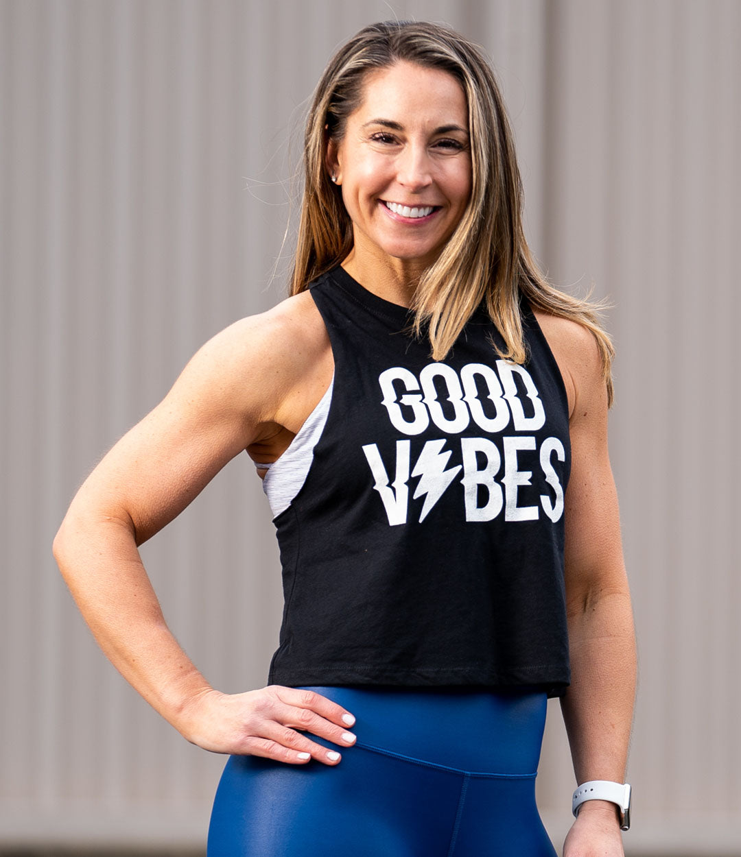 Good Vibes White on Black Crop Tank