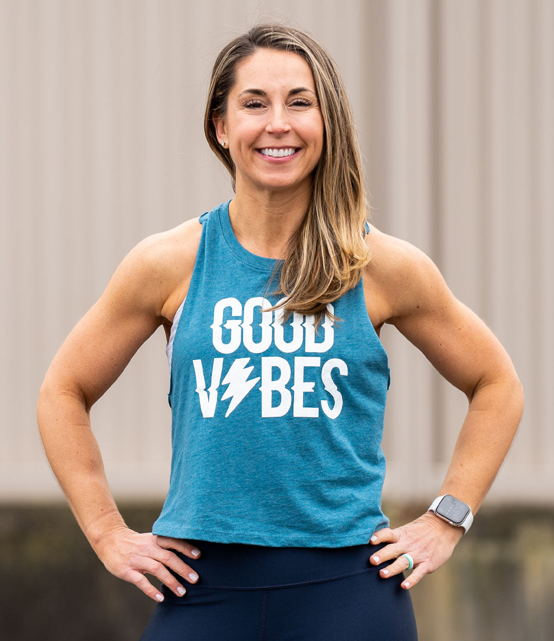 Good Vibes White on Teal Crop Tank