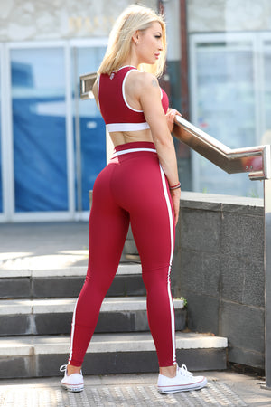 Womens V-Leggings Maroon