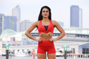 Womens Mesh Sports Bra Red
