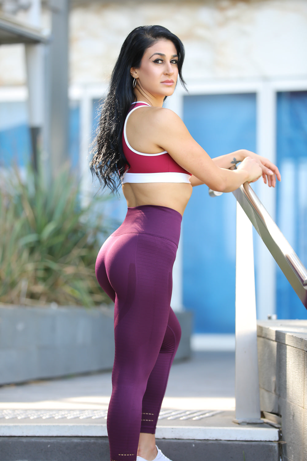 Womens Seamless Leggings Plum