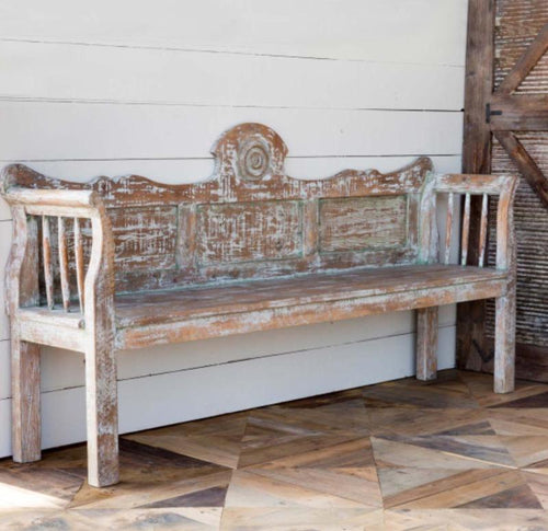 Aged Painted Distressed Wood Bench