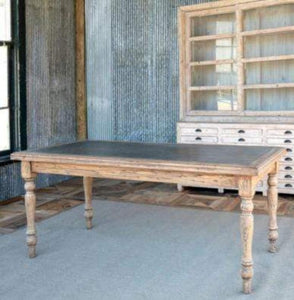 Zinc Topped Old Elm Farm Table